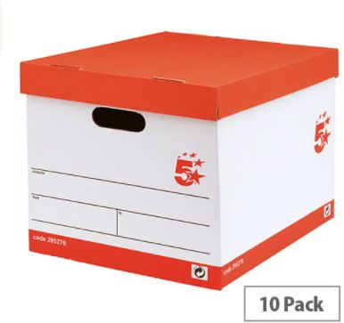 5 star lever arch files storage box a4 white and black 10 pack