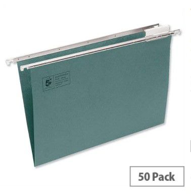a4 suspension file green heavyweight with tabs and inserts pack 50 5 star