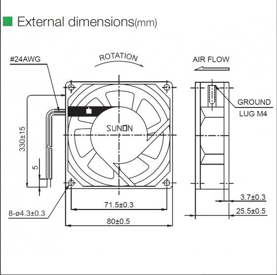 ac brushless fan sunon sf23080at2082hblgn fan slim80mm 230vac cn 84145920