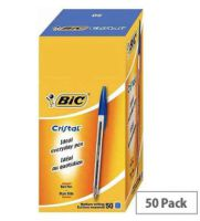 Bic Cristal Ballpoint Pens Blue Clear Barrel Pack 50