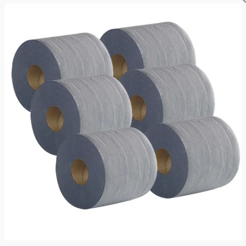 blue roll 2work economy centrefeed roll 2ply 100m blue pack of 6 2w03010