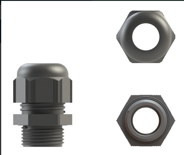 cable gland nylon 12mm grey ip68 pack of 10 cw locknut