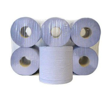 dispenser centre feed tissues refill paper rolls 2ply 150 metre blue pack of 6 wx43931
