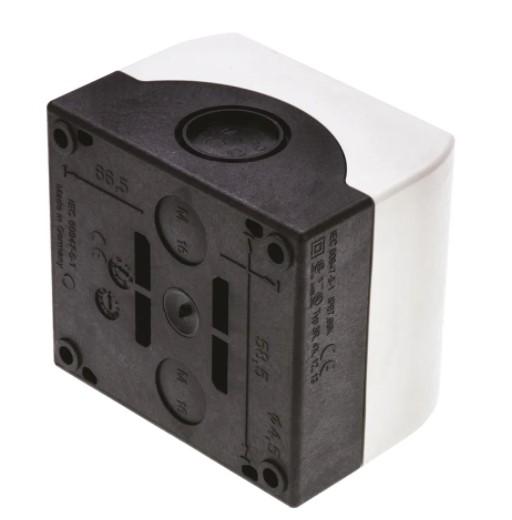 eaton grey plastic m22 push button enclosure 1 hole 22mm diameter