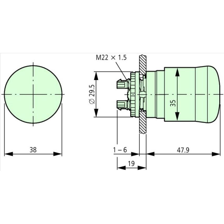 eaton moeller emergencystop turnrelease 22mm panel mount