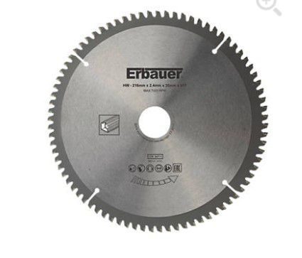 erbauer tct saw blade 216 x 30mm 80t 4197v