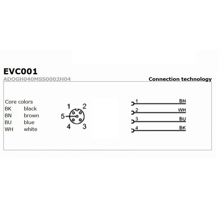 evc002 straight female m12 4pole 5m