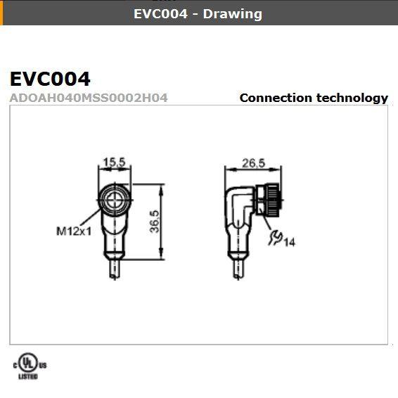 evc005 angled female m12 4pole 5m
