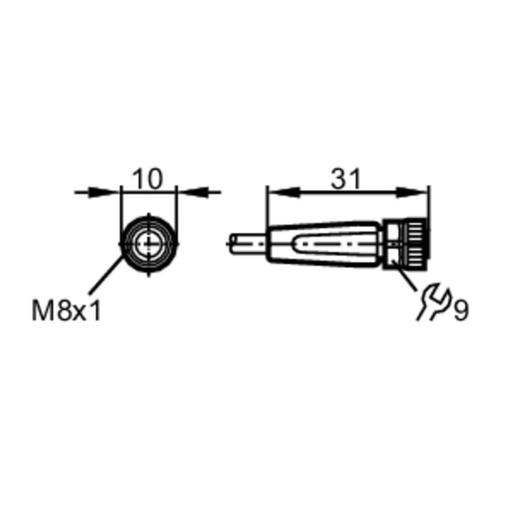 evc143 straight female m8 3pole 10m