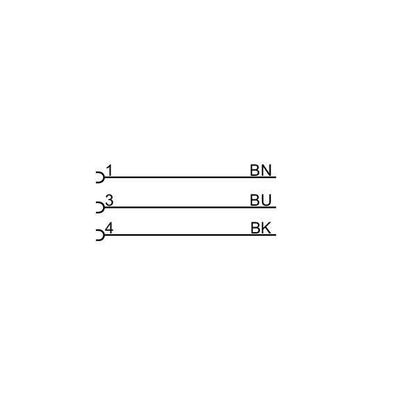 evc144 angled female m8 3pole 2m