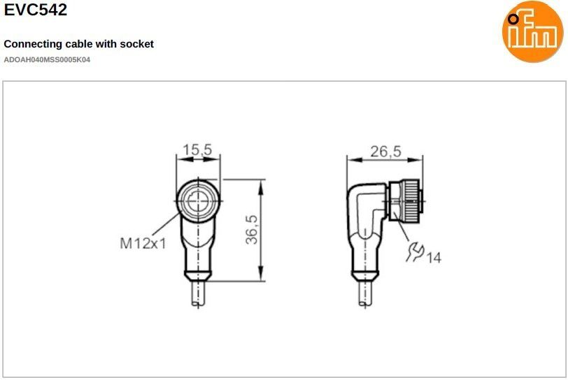 evc542 shielded angled female m12 4pole 5m