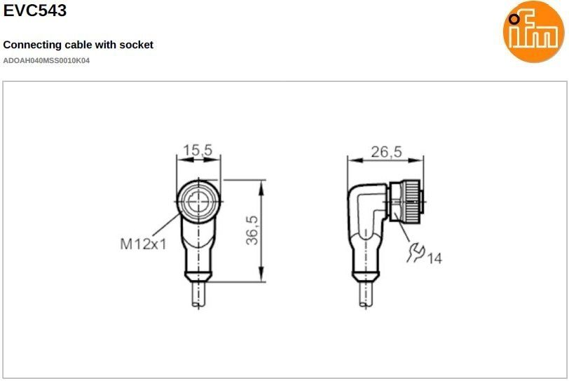 evc543 shielded angled female m12 4pole 10m