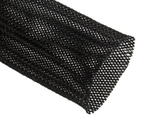 expandable braided pet black cable sleeve 40mm diameter 10m length