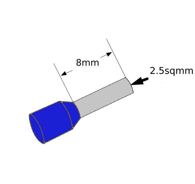 ferrules 25sq8mm blue pack 500 v30ae000052