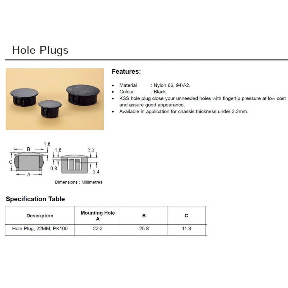 hole plug 22mm