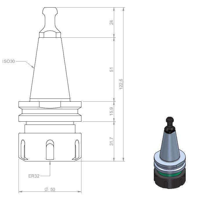 iso30 er32 toolholder pullstud