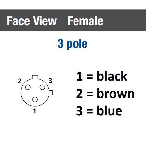 m12 3pole panel mount female with 50cm wiring rkf 3u05m