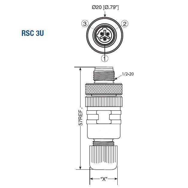 m12 3pole straight male connector rsc 3u7
