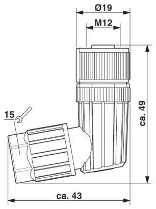 m12 4pole angle female connector 1424656