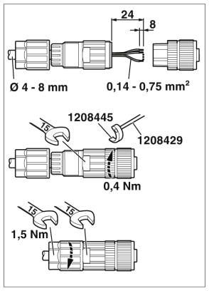 m12 4pole straight female connector 1424655