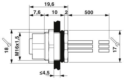 m12 8 pole panel mount female with 50cm wiring