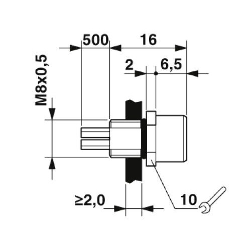 m8 3poles panel mount female with 50cm wiring 1500350