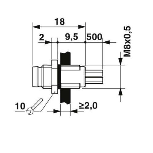 m8 3poles panel mount male with 50cm wiring 1500334