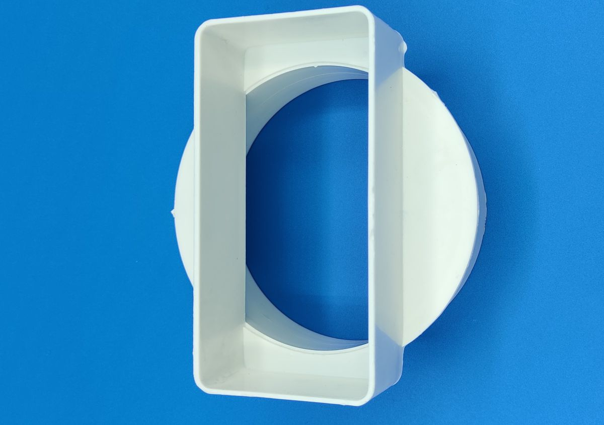 manrose round pipe to flat channel central adaptor white 100mm 12049