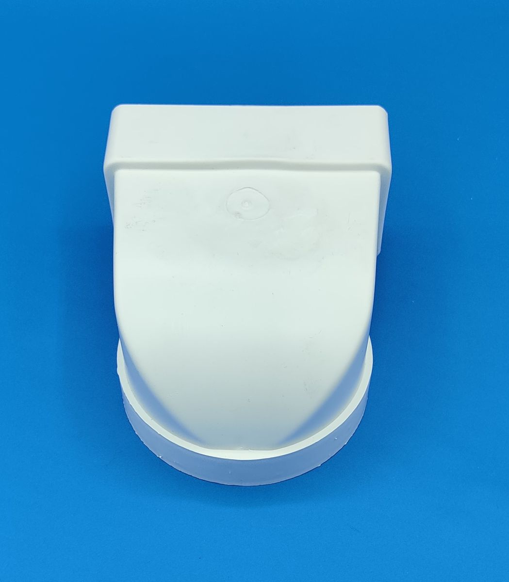 manrose round to rectangular 90 bend appliance connector white 100mm