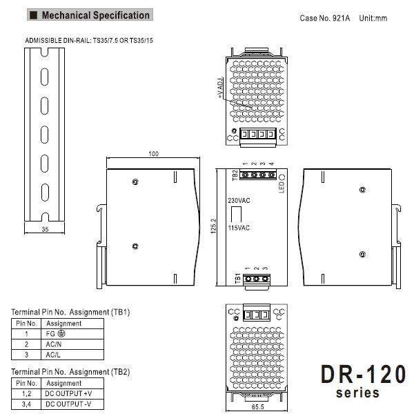 mean well 120w din rail powersupply dr12024 24vdc