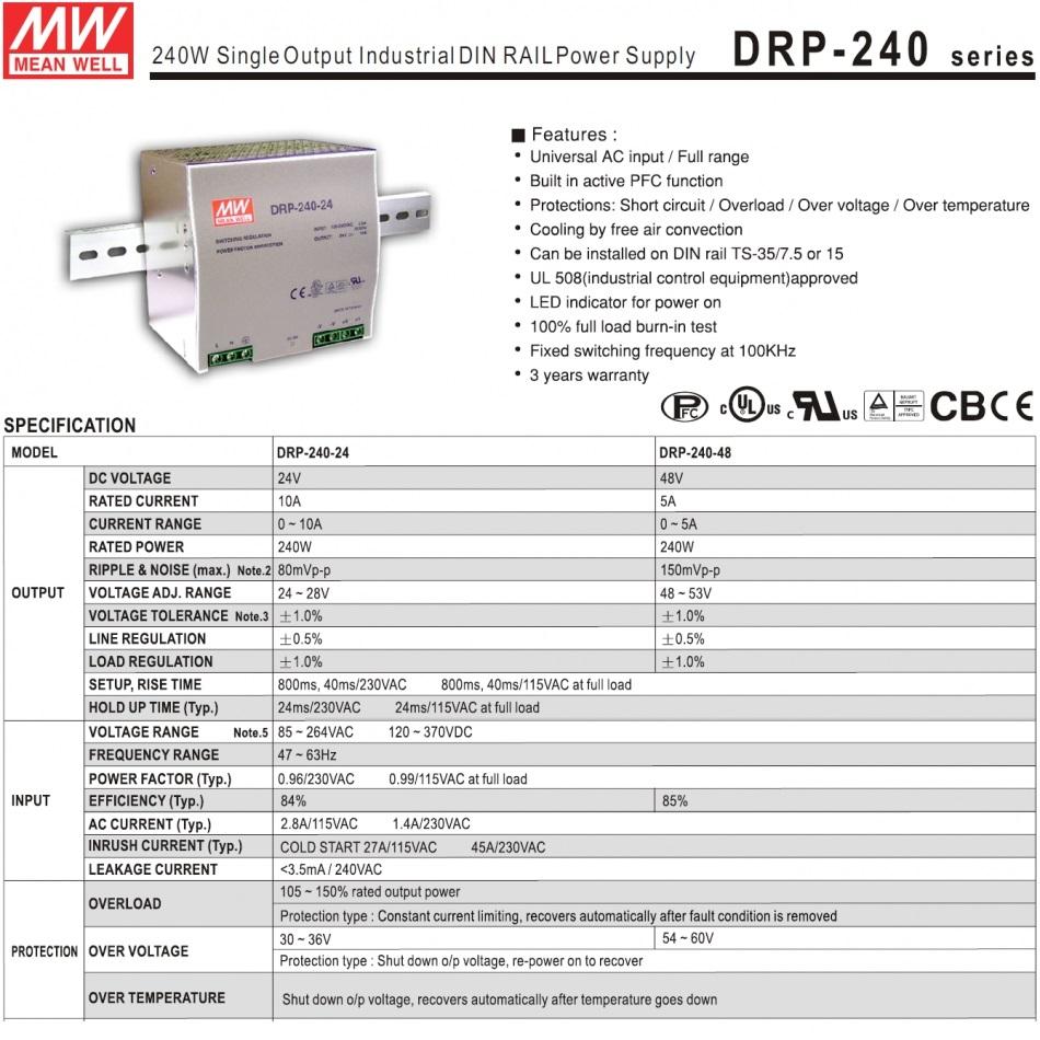 mean well 240w din rail powersupply drp24024 24vdc