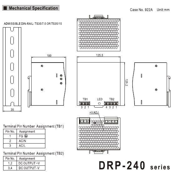 mean well 240w din rail powersupply drp24048 48vdc