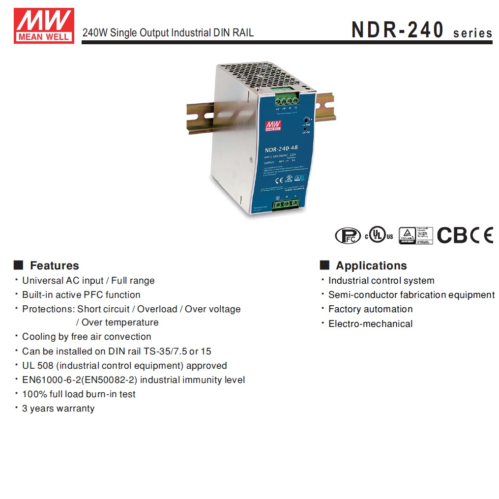 ndr24024 24vdc 240w din rail powersupply