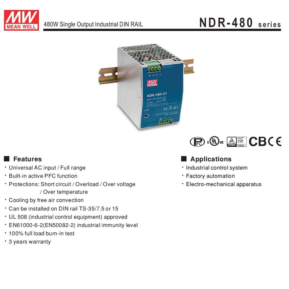 ndr48048 48vdc 480w din rail powersupply