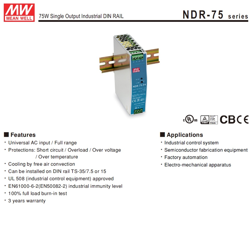 ndr7548 48vdc 75w din rail powersupply