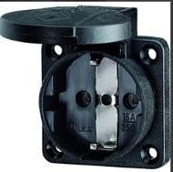 panel mounted socket ip54 black