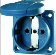 panel mounted socket ip54 blue