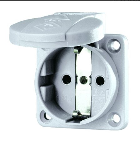 panel mounted socket ip54 grey