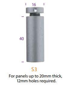 s3sc16mm diameter wall mountpanels 20mm hole 12mm