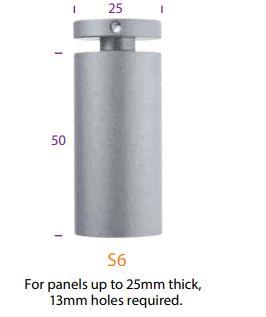 s6sc 50mm satin chrome wallmount 25mm hole 13mm