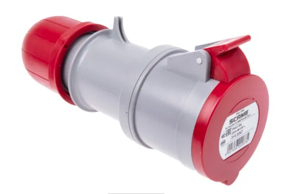 scame ip44 red cable mount 3pne industrial power socket rated at 320a 4150 v
