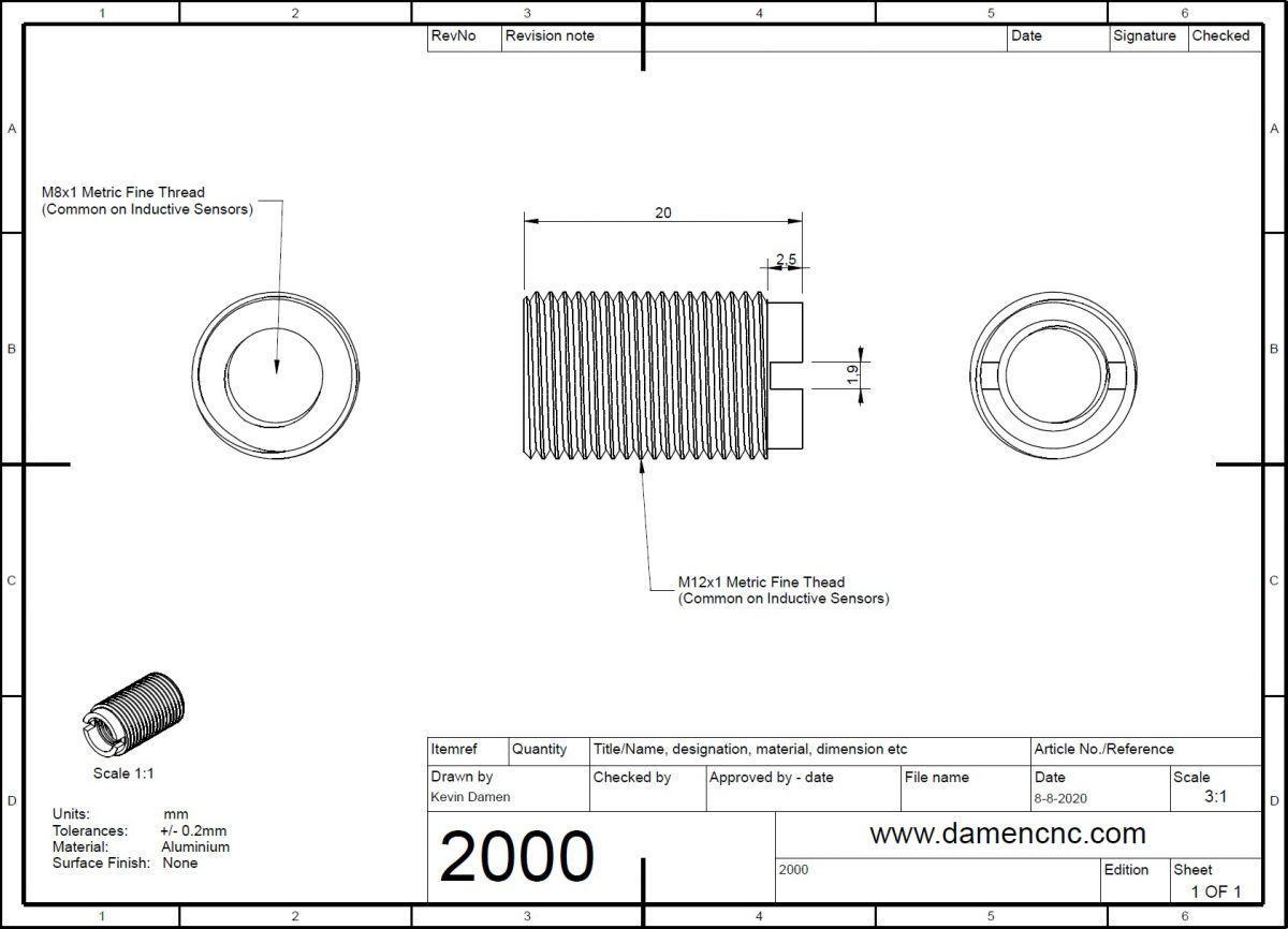 thread adapter m12x1 to m8x1 l 20mm