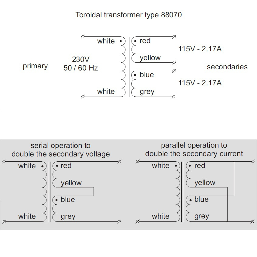 toroidal transformer 230v 2x115v 500va