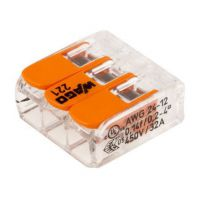Wago 221 Terminal Block Connector, 3 Way/Pole, Spring Cage Terminals, 24 → 12 AWG Cable Mount, 450 V